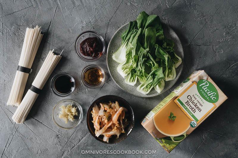 Ingredients for making Korean noodle soup