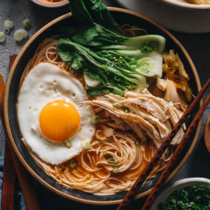 15-Minute Korean Noodle Soup | A perfect one-pot dinner for your busy weekdays. You only need a few ingredients and some leftovers in your pantry to make this hearty dish that is bursting with flavor and loaded with nutrients. Different topping options are provided so you can DIY a custom version with whatever ingredients you have on hand!