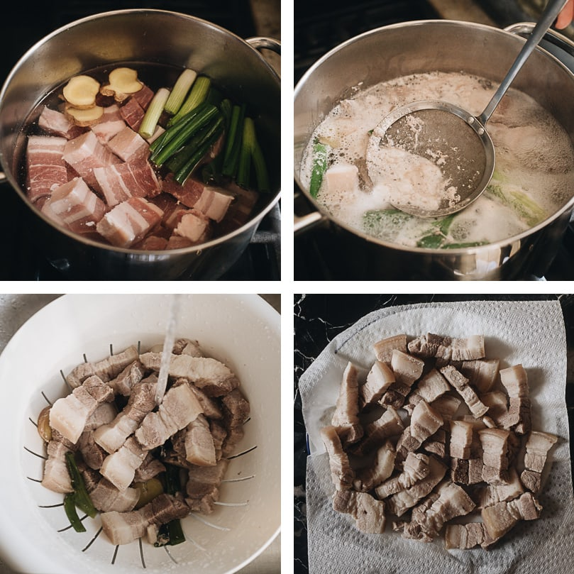 How to blanch pork for braising step-by-step