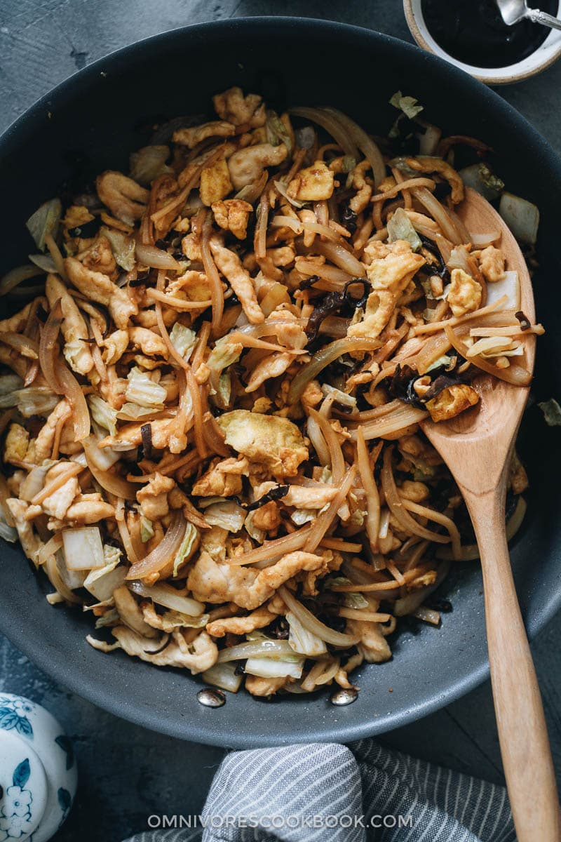 Homemade moo shu chicken in a pan