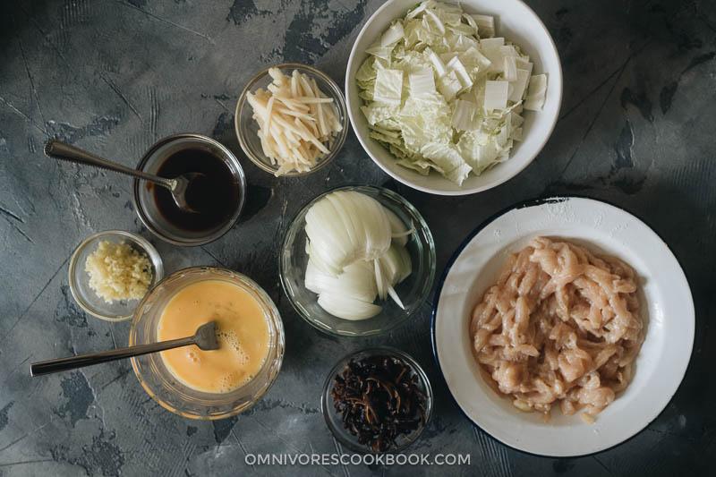 Ingredients for making moo shu chicken