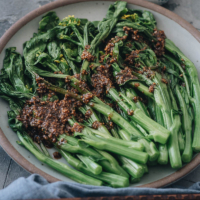 Homemade choy sum with garlic sauce