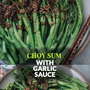 A super simple Choy Sum recipe that uses 5 ingredients to create a scrumptious side dish in 20 minutes. The choy sum is blanched until tender, then drizzled with a garlicky sauce that is savory and lightly sweet. It is a perfect dish to add nutrition and vibrant color to your dinner table. {Vegan}