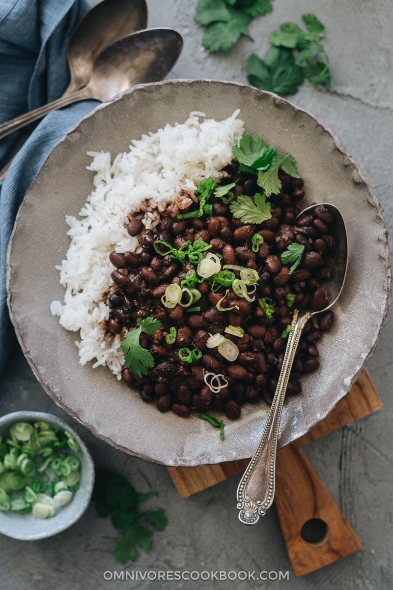 Instant pot black beans served with rice