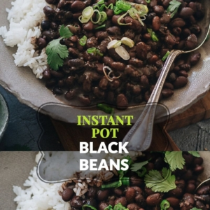 Instant Pot Black Beans (5-Ingredient, Vegan) | A super easy recipe that creates buttery black beans with a rich flavor. Both no-soak and pre-soaked methods are included. Serve them with rice, you'll have a meal ready in no time!