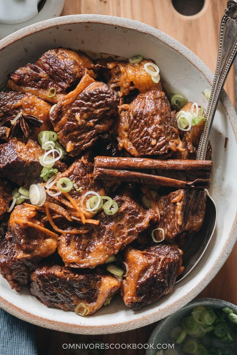 Braised beef brisket close-up