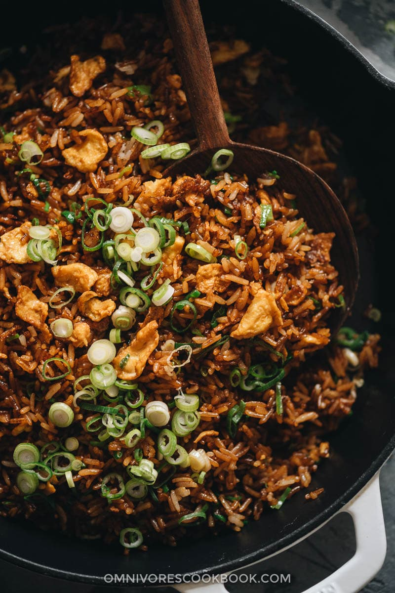 Soy sauce fried rice close-up