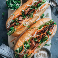 Homemade pork banh mi on a tray