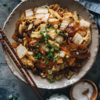 Braised napa cabbage with glass noodles