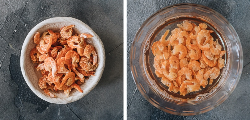Dried shrimps and rehydrated dried shrimps