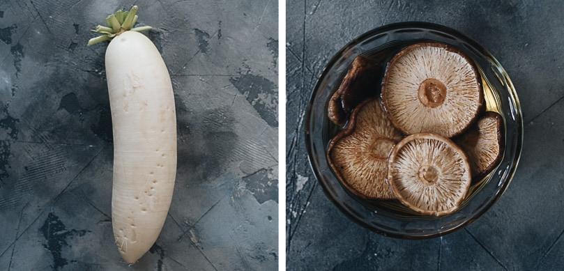 Daikon radish and shiitake mushrooms