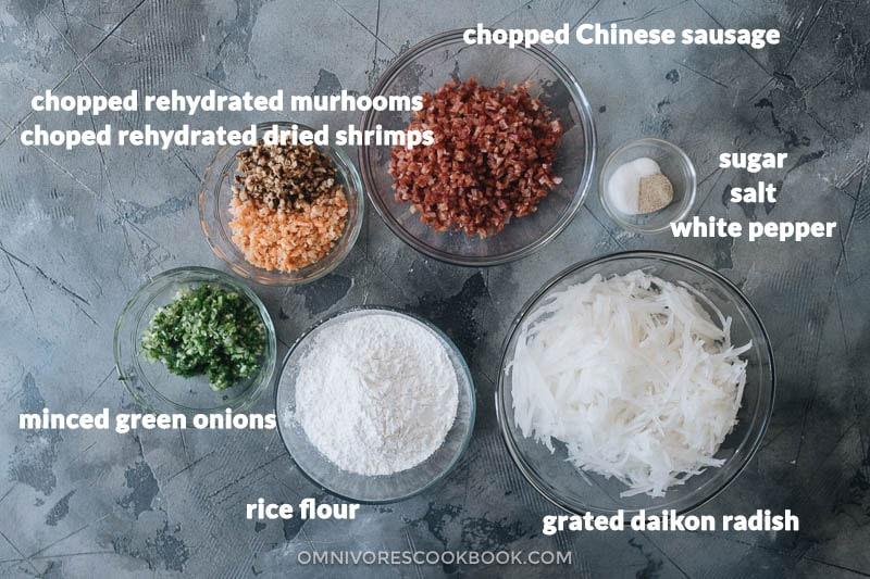 Chinese turnip cake ingredients