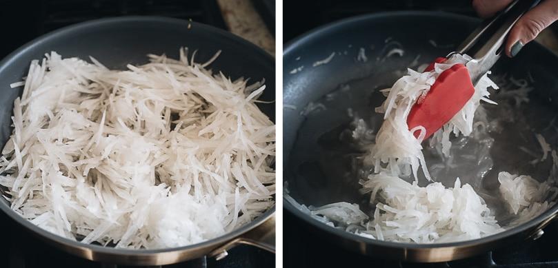Cook daikon radish slices