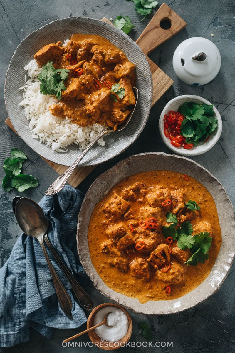 Homemade butter chicken served in bowls