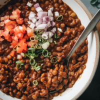 Homemade lentil stew close-up