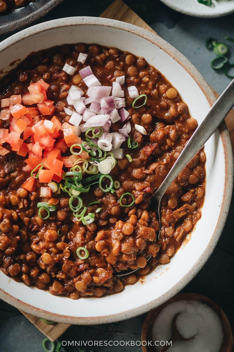 Homemade lentil stew close-up