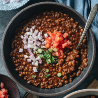 Instant Pot Lentil Soup is a healthy one-pot vegan meal that will satisfy your hunger and craving for comfort food all at once! Learn how to use one Chinese ingredient to pack your soup with extra flavor and umami. {Vegan}