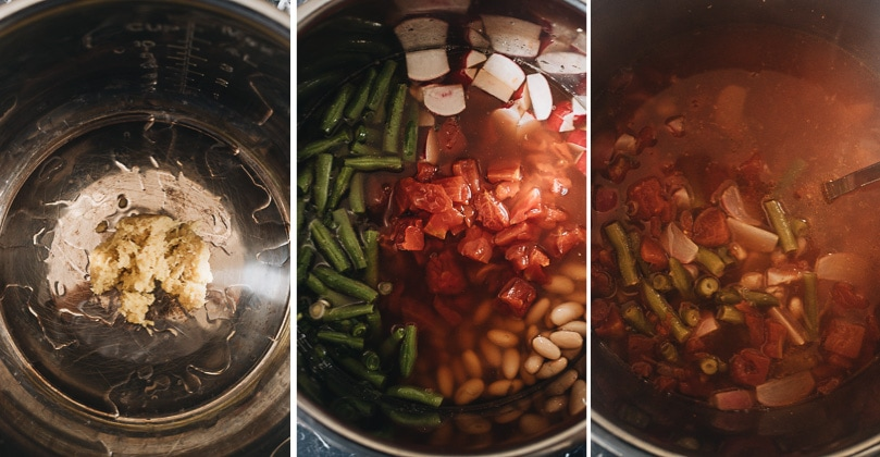 Instant pot vegetable soup cooking step-by-step