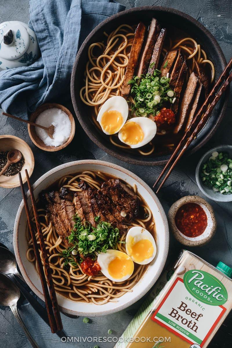 Bowls of beef noodle soup