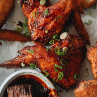 Chinese style hot wings close-up