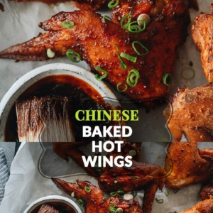Learn how to make Chinese baked hot wings that have a crisp outer texture with a savory spicy heat. They're perfect for game days, parties, or any time you're craving wings. Brush them with my homemade honey hot sauce - they are literally finger-lickering good!