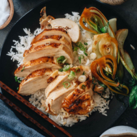 My Instant Pot whole chicken recipe brings you fall-off-the-bone flavorful chicken with a fragrant savory gravy. Use this easy brine to make the juiciest chicken and finish it up with a soy glaze for an extra kick.