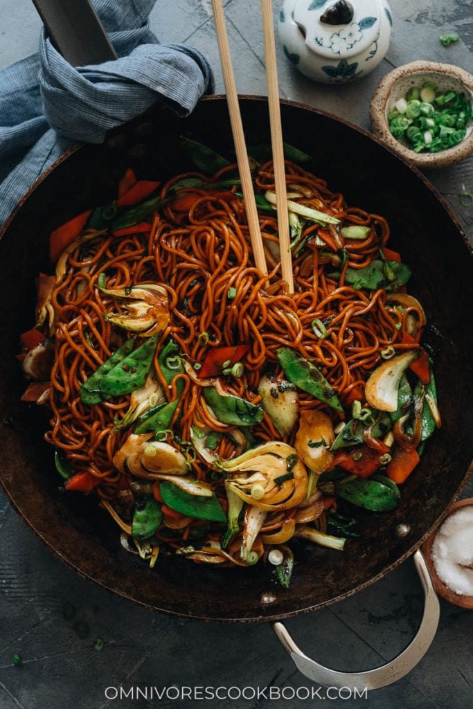 Vegetable lo mein in a pan