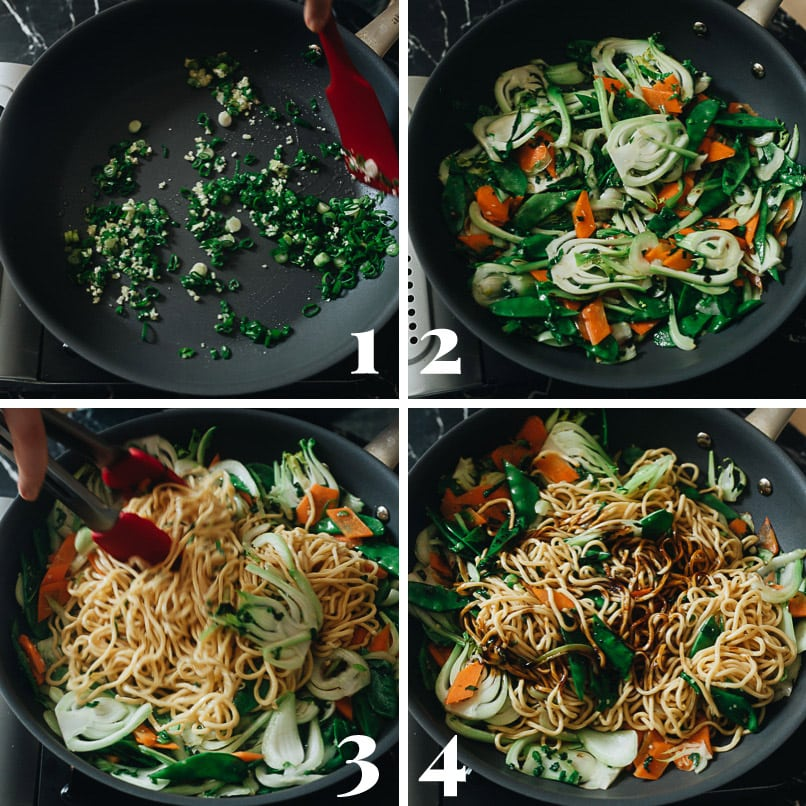 Vegetable lo mein cooking step-by-step