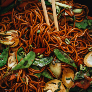 Vegetable lo mein close up