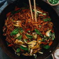 Make takeout-perfect vegetable lo mein in your own kitchen for a quick, easy, healthy, and authentic Chinese dish any night of the week! {Vegetarian}