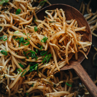 Stir fried bean sprouts close up