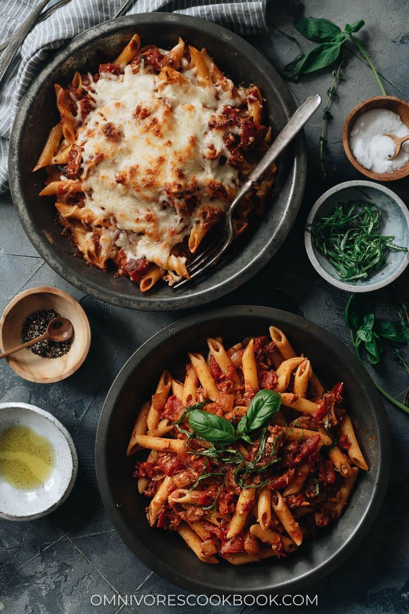 Pasta with arrabiata sauce, two ways