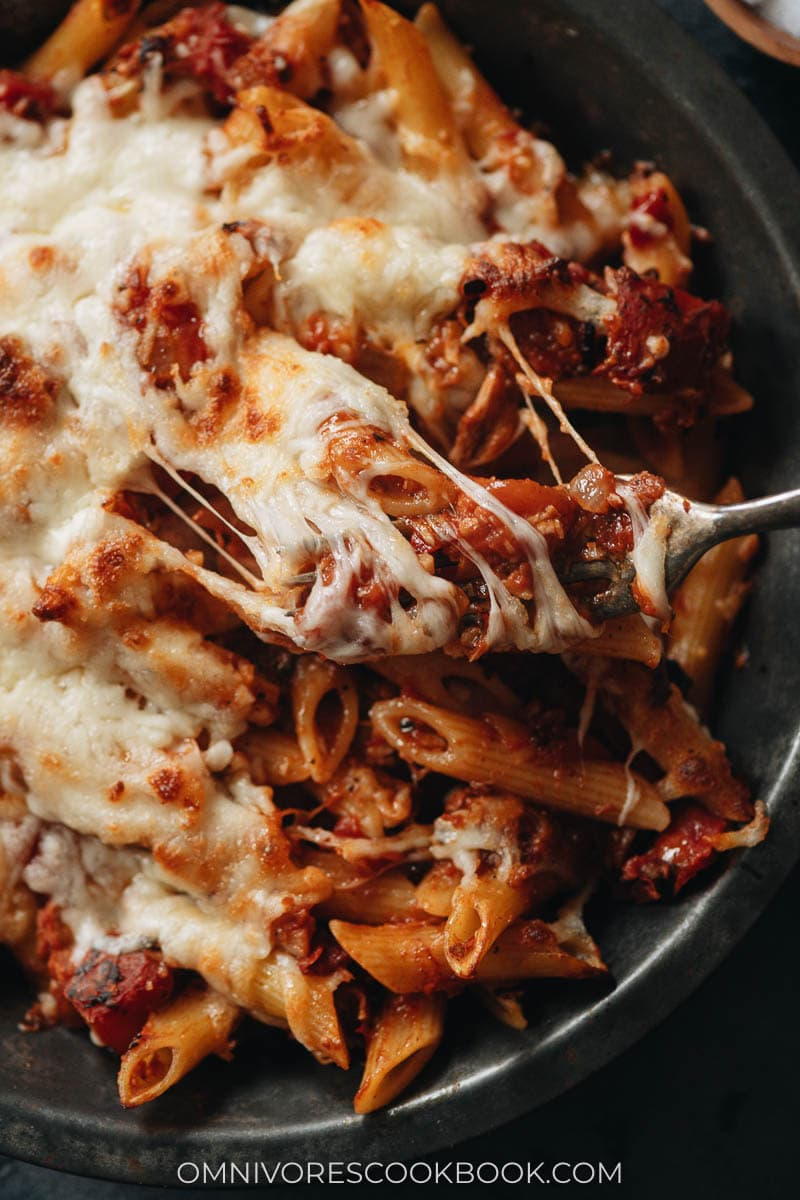 Baked Arrabiata pasta with tuna