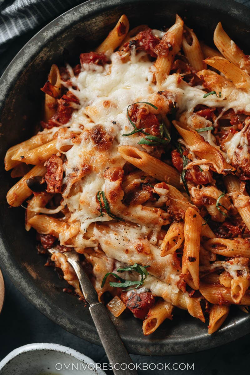 Baked Arrabiata pasta close-up
