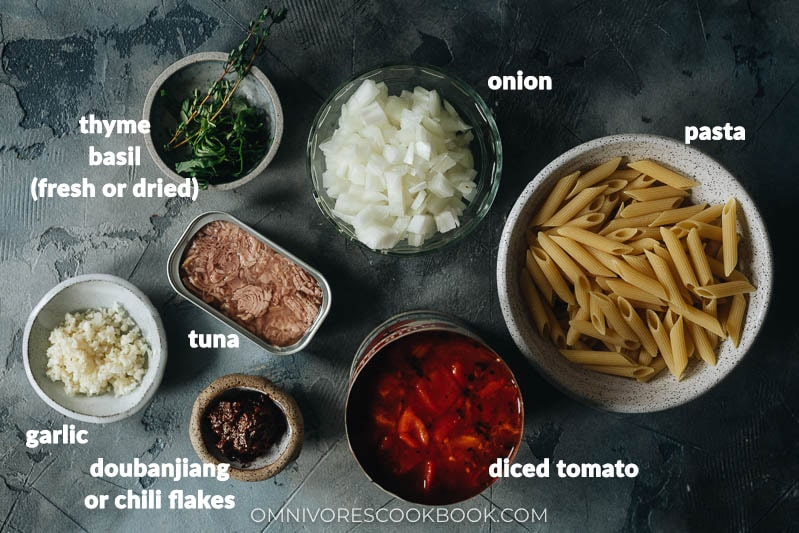 Ingredients for making Arrabiata pasta