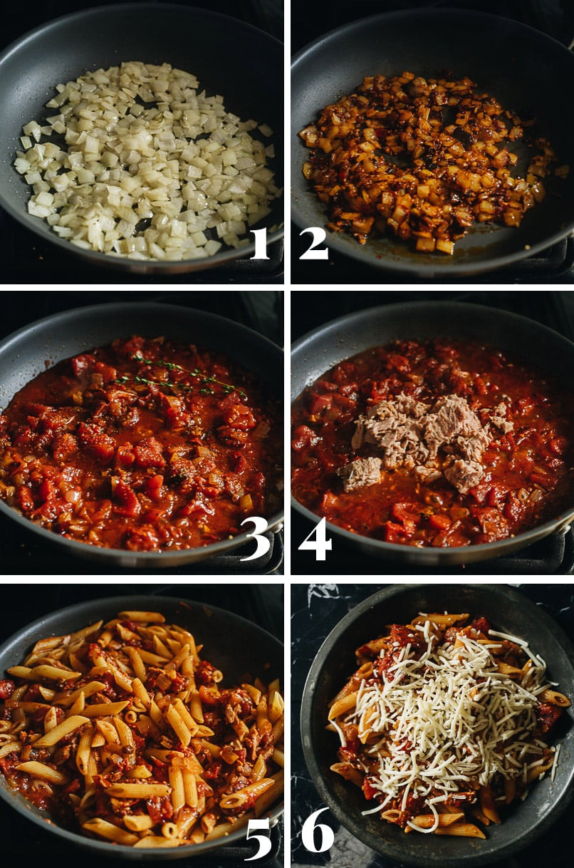 Arrabiata pasta cooking step-by-step
