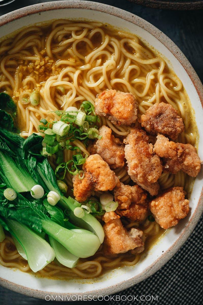 Curry noodle soup close-up