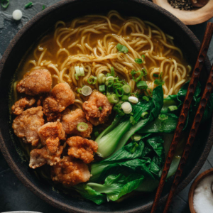Surprise your taste buds with the textural and flavorful delights of my curry noodle soup. It's full of fragrance and topped with perfectly crispy bites of popcorn chicken and leafy green bok choy for balance!