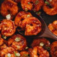 Chili garlic shrimp close up