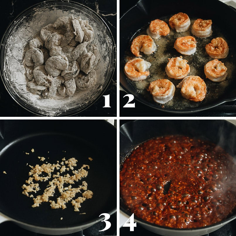 Cooking chili garlic shrimp step-by-step