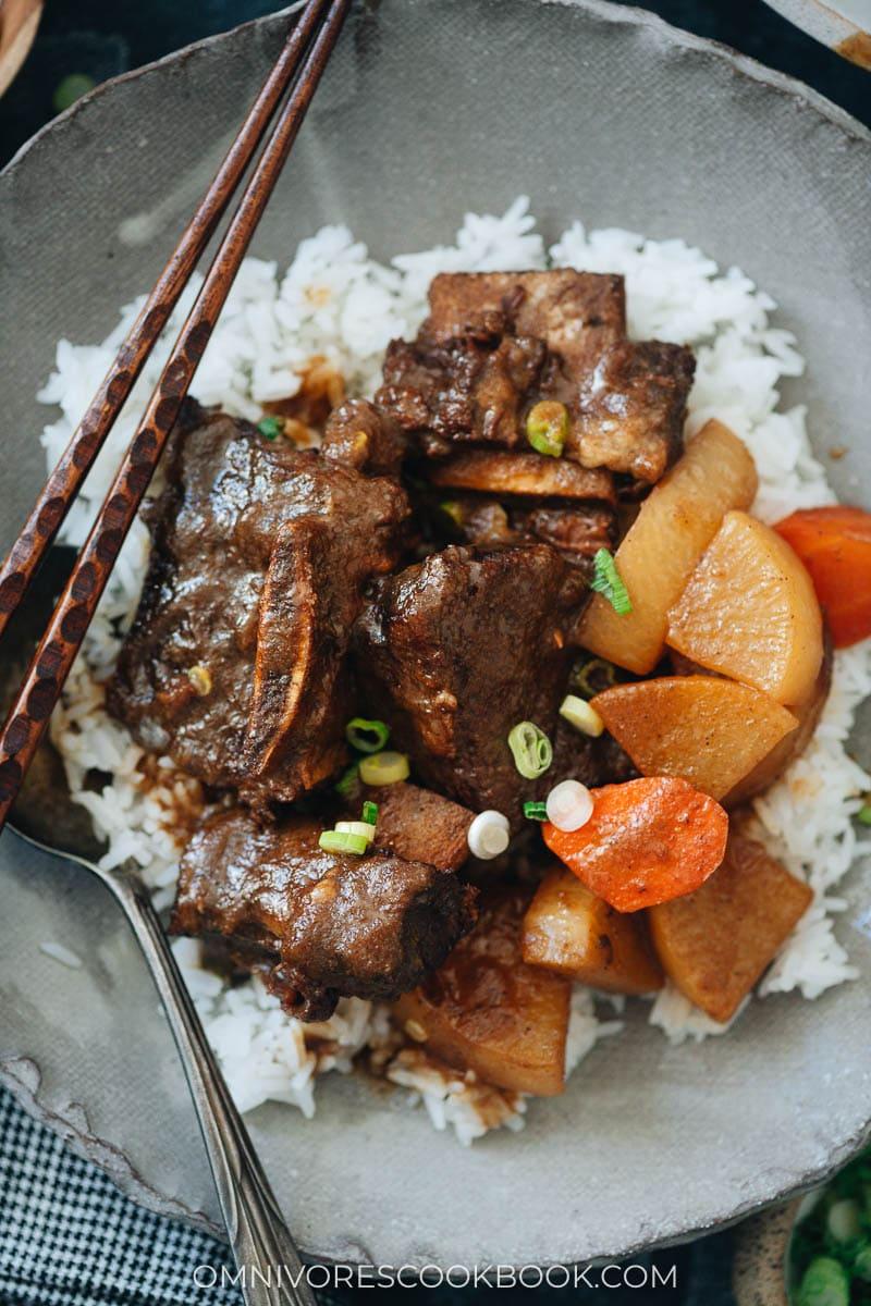 Galbi Jjim served on rice close up
