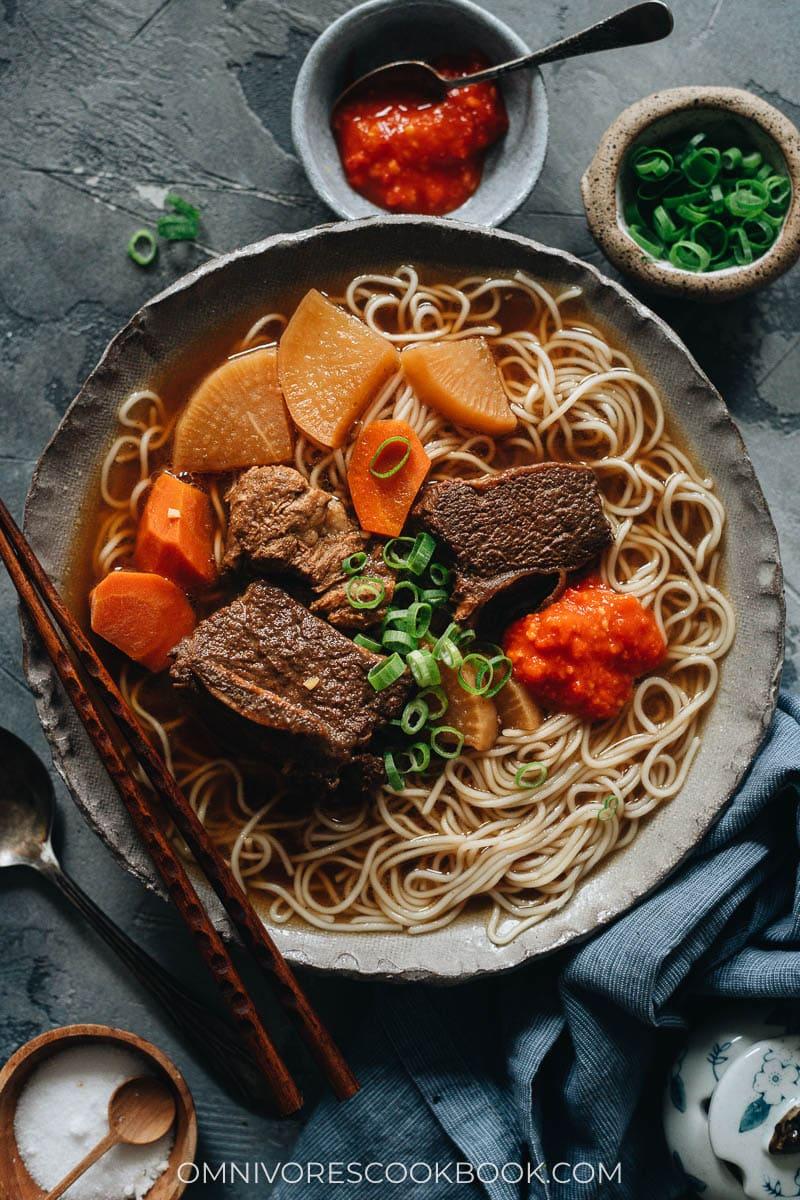 Korean Instant Pot short ribs served on noodle