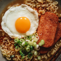 Spam ramen close-up