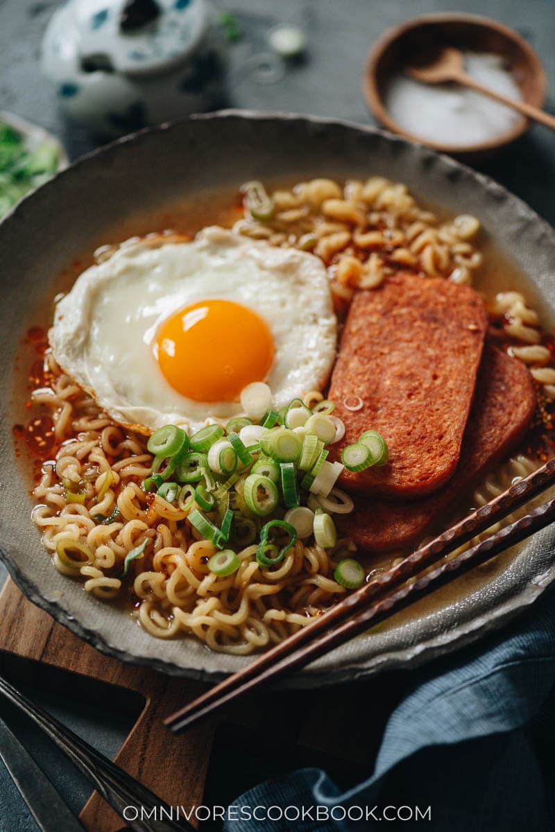 Spam noodle soup with egg