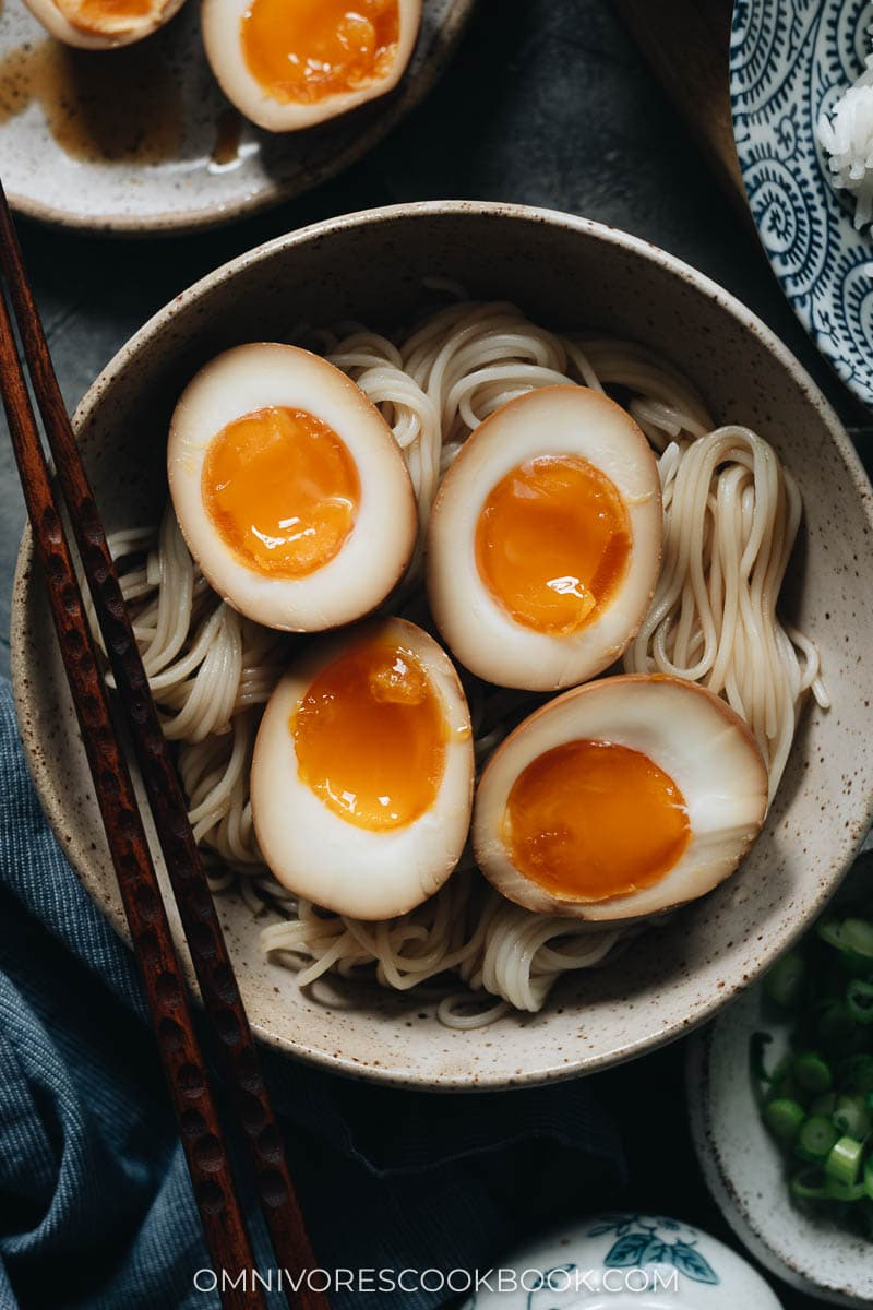 Marinated eggs on noodles