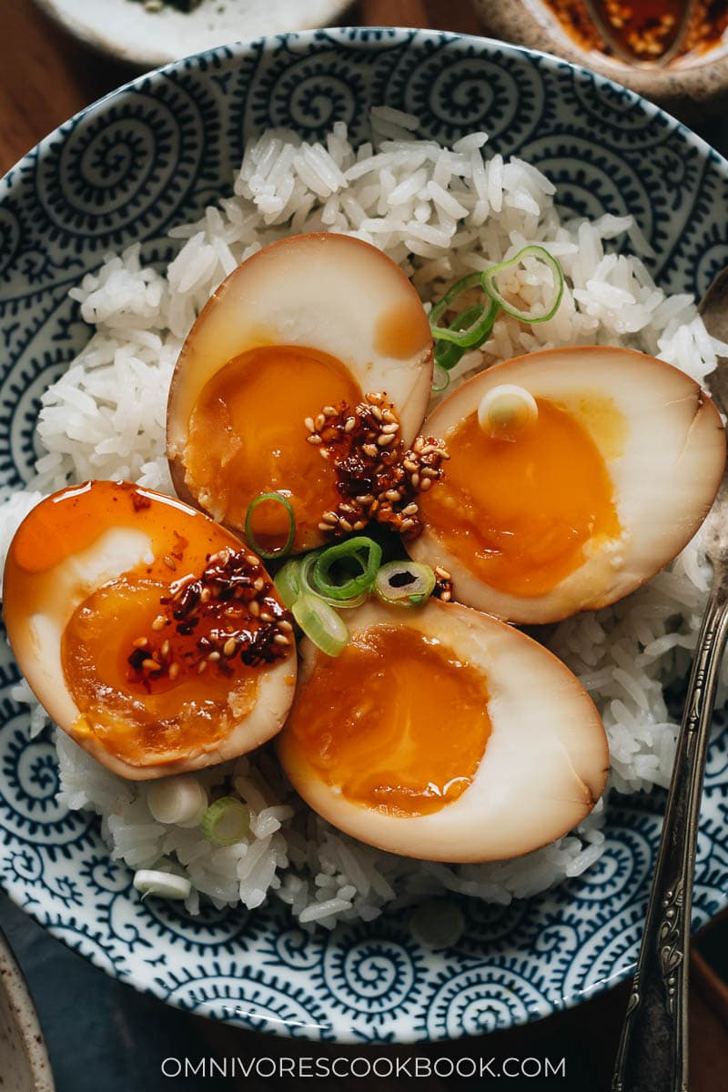 Homemade soy sauce eggs on rice