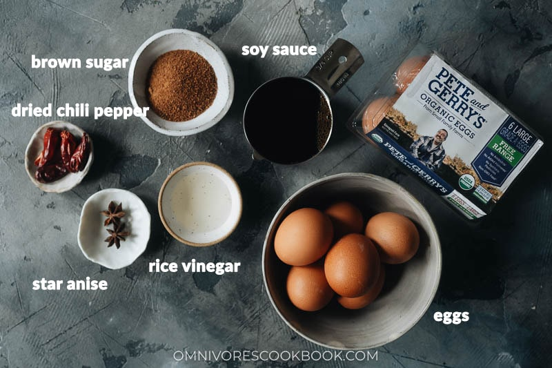 Ingredients for making soy sauce eggs