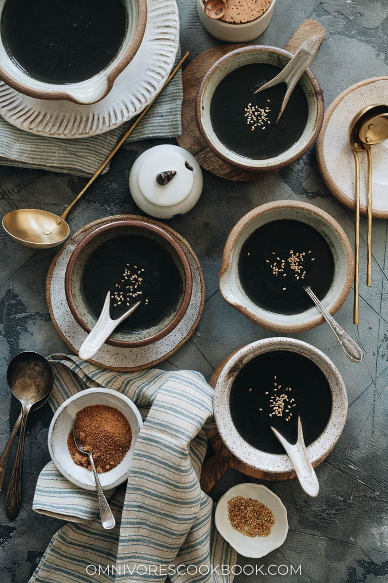 Chinese black sesame soup served in bowls