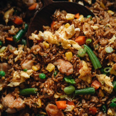 Chicken fried rice close up