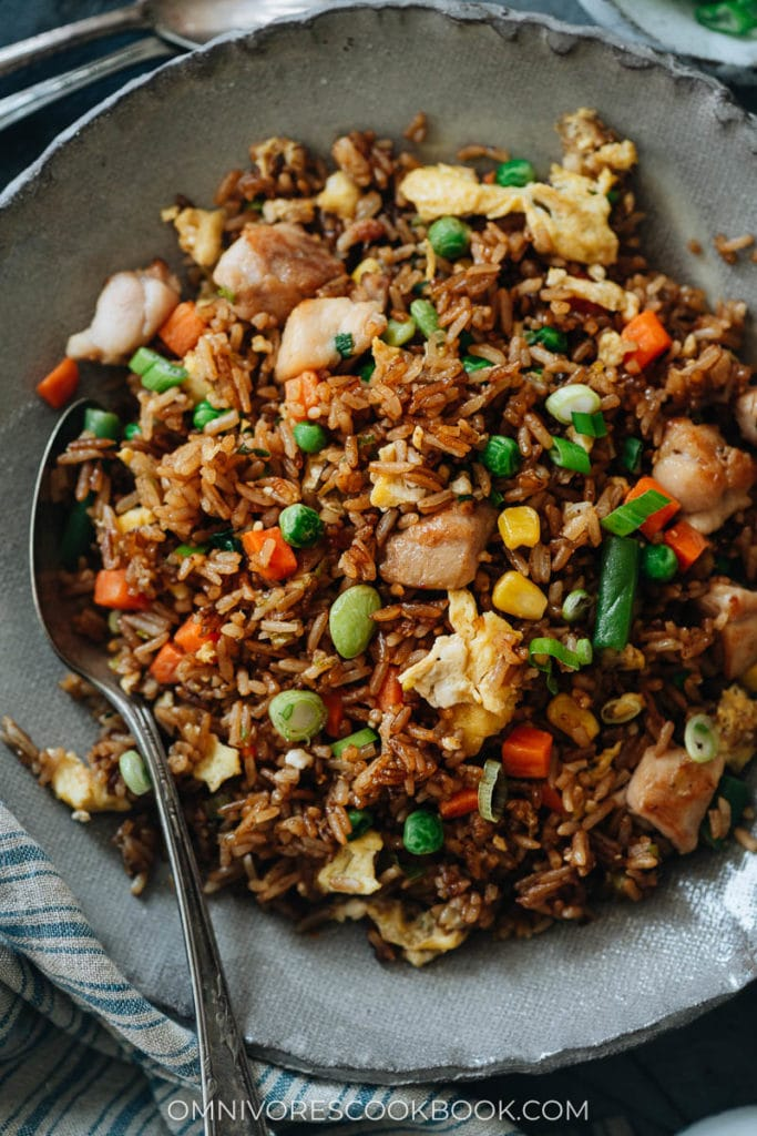 Takeout-style fried rice in a bowl